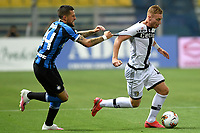 Cristiano Biraghi of FC Internazionale and Dejan Kulusevski of Parma compete for the ball during the Serie A football match between Parma and FC Internazionale at stadio Ennio Tardini in Parma ( Italy ), June 28th, 2020. Play resumes behind closed doors following the outbreak of the coronavirus disease. <br /> Photo Andrea Staccioli / Insidefoto