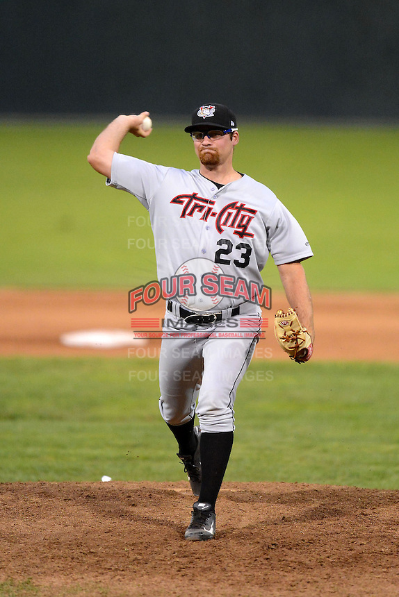 Tri-City ValleyCats pitcher Kyle Westwood (23) during a game against the Batavia Muckdogs on July 13, 2013 at Dwyer Stadium in Batavia, New York.  Tri-City defeated Batavia 5-4.  (Mike Janes/Four Seam Images)