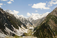 "A glacier carved ""u"" shaped valley in the Himalayan Mountains along the Srinagar to Leh road, Kashmir, India."