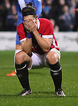 James Poole of Salford City shows his frustration after missing the target  - Emirates FA Cup Second Round Replay - Hartlepool vs Salford City - Victoria Park - Hartlepool - England - 15th of December 2015 - Picture Jamie Tyerman/Sportimage