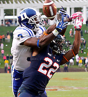 Duke wide receiver Jamison Crowder (3) and Virginia cornerback DreQuan Hoskey (22) Duke defeated Virginia 35-22 at Scott Stadium in Charlottesville, VA. . Photo/Andrew Shurtleff