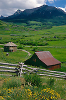 Old homestead on Hastings Mesa<br /> North Pole Peak<br /> San Juan Mountains<br /> Rocky Mountains,  Colorado