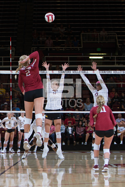 STANFORD, CA - September 9, 2018: Kathryn Plummer, Kate Formico at Maples Pavilion. The Stanford Cardinal defeated #1 ranked Minnesota 3-1 in the Big Ten / PAC-12 Challenge.