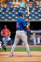 Durham Bulls Joe McCarthy (31) bats during an International League game against the Toledo Mud Hens on July 16, 2019 at Fifth Third Field in Toledo, Ohio.  Durham defeated Toledo 7-1.  (Mike Janes/Four Seam Images)
