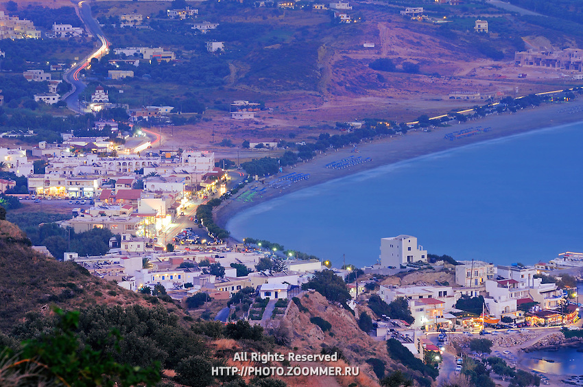 Village of Plakias in the evening. Beaches and the sea at long exposure