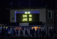 The scoreboard after the Super Rugby match between the Chiefs and Jaguares at Rotorua International Stadum in Rotorua, New Zealand on Friday, 4 May 2018. Photo: Dave Lintott / lintottphoto.co.nz
