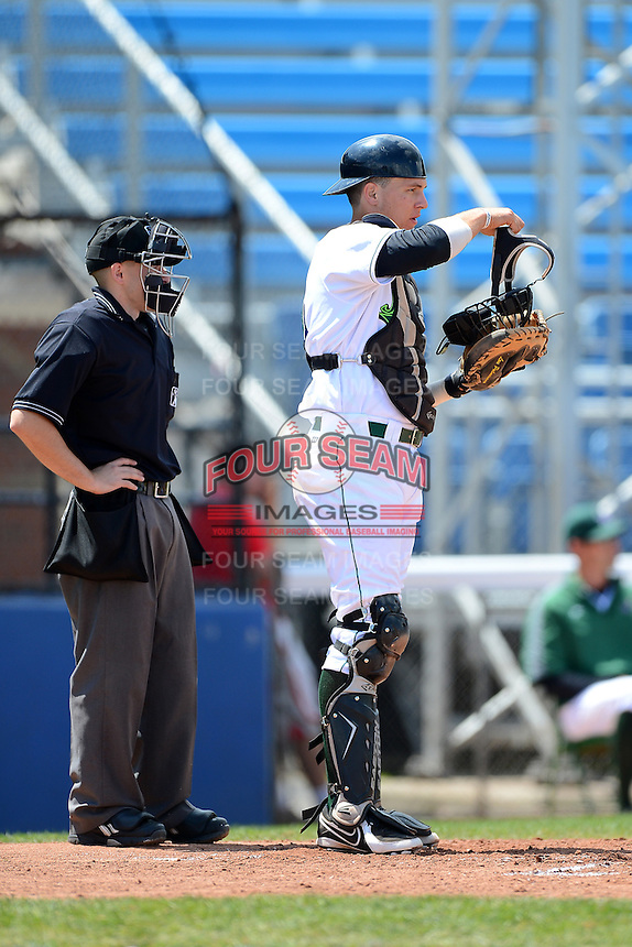 Umpire Rich Grassa and Jamestown Jammers catcher Andrew Dennis (25) during a game against the Brooklyn Cyclones on August 4, 2013 at Russell Diethrick Park in Jamestown, New York.  Jamestown defeated Brooklyn 9-5.  (Mike Janes/Four Seam Images)