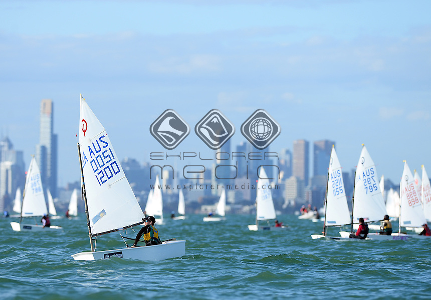 Optimist / Jayden DALTON (AUS)<br /> 2013 ISAF Sailing World Cup - Melbourne<br /> Sail Melbourne - The Asia Pacific Regatta<br /> Sandringham Yacht Club, Victoria<br /> December 1st - 8th 2013<br /> &copy; Sport the library / Jeff Crow