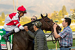 ARCADIA, CA  DECEMBER 28: #5 Omaha Beach returns to the connections after winning the Malibu Stakes (Grade l) on December 28, 2019 at Santa Anita Park in Arcadia, CA.   (Photo by Casey Phillips/Eclipse Sportswire/CSM)