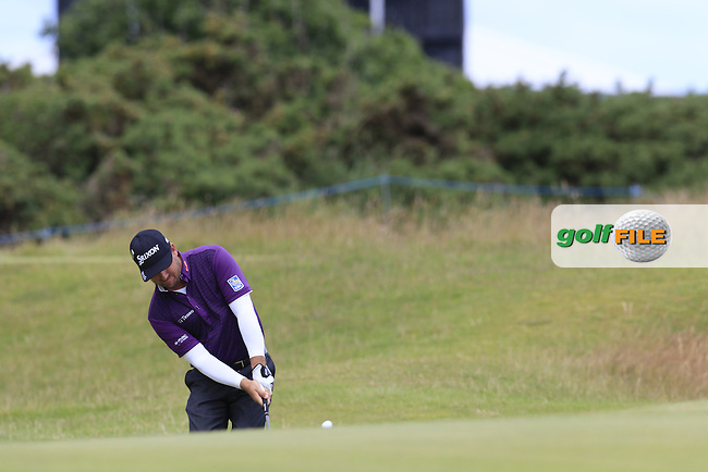 Graeme McDOWELL (NIR) chips onto the 14th green during Sunday's Round  of the 144th Open Championship, St Andrews Old Course, St Andrews, Fife, Scotland. 19/07/2015.<br /> Picture Eoin Clarke, www.golffile.ie