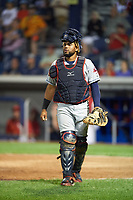 Mahoning Valley Scrappers catcher Jason Rodriguez (20) watches the play during a game against the Williamsport Crosscutters on July 8, 2017 at BB&T Ballpark at Historic Bowman Field in Williamsport, Pennsylvania.  Williamsport defeated Mahoning Valley 6-1.  (Mike Janes/Four Seam Images)