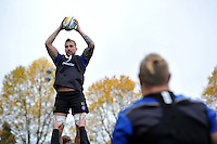 Dominic Day of Bath Rugby wins the ball at a lineout. Bath Rugby Captain's Run on October 30, 2015 at the Recreation Ground in Bath, England. Photo by: Patrick Khachfe / Onside Images
