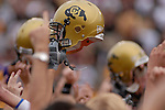 29 September  2007:  Colorado celebrates the Buffalos 27-24 upset win over the #3 ranked Oklahoma Sooners at Folsom Field, Boulder, Colorado.