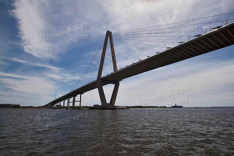 Arthur Ravenel Jr Bridge over the Cooper River, also known as the Cooper River Bridge.  Located on the harbor in Charleston South Carolina