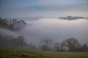 20/01/17<br />  <br /> After days of gloomy weather, blue skies appear above Victoria Prospect Tower and Riber Castle (right) seen poking through the mist as a cloud inversion shrouds the Derwent Valley, above Matlock Bath in the Derbyshire Peak District.<br /> <br /> All Rights Reserved F Stop Press Ltd. (0)1773 550665   www.fstoppress.com
