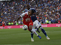 BOGOTÁ - COLOMBIA, 20-01-2019:Arley Rodriguez  (Izq.) jugador del Independiente Santa Fe disputa el balón con Felipe Banguero  (Der.) jugador de Millonarios durante partido por la  final del Torneo Fox Sport 2019 jugado en el estadio Nemesio Camacho El Campín de la ciudad de Bogotá. /Arley Rodriguez (L) Player of the Independiente Santa Fe disputes the ball with Felipe Banguero( R) player of Millonarios during game for the final of the Fox Sport 2019 Tournament played in the Nemesio Camacho El Campín stadium in the city of Bogotáy. Photo: VizzorImage / Felipe Caicedo / Staff.