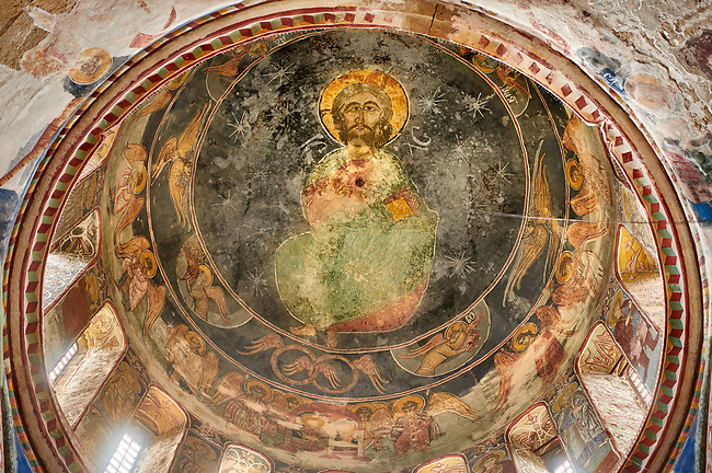 Pictures & images of the Byzantine cupola fresco  in the Gelati Georgian Orthodox Church of the Virgin, 1106, depicting Christ Pantocrator.  The medieval Gelati monastic complex near Kutaisi in the Imereti region of western Georgia (country). A UNESCO World Heritage Site.