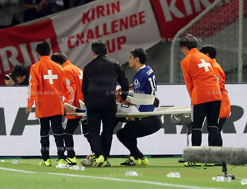 June 7, 2017, Tokyo, Japan - Japan's Shinji Kagawa (C) is carried by a stretcher as he has injured during a friendly match between Japan and Syria Kirin Challenge Cup in Tokyo on Wednesday, June 7, 2017. Japan and Syria drew the game 1-1.  (Photo by Yoshio Tsunoda/AFLO) LwX -ytd-