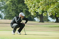Tom Lewis lines up his putt during the final round of the  Bridgestone Challenge, Louto Hoo Hotel, Bedfordshire, England. 09/09/2018.<br /> Picture  / Golffile.ie<br /> <br /> All photo usage must carry mandatory copyright credit (&copy; Golffile | )
