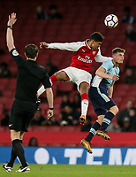 Blackpool U18's Jack Newton competing with Arsenal U18's  Xavier Amaechi<br /> <br /> Photographer Andrew Kearns/CameraSport<br /> <br /> Emirates FA Youth Cup Semi- Final Second Leg - Arsenal U18 v Blackpool U18 - Monday 16th April 2018 - Emirates Stadium - London<br />  <br /> World Copyright &copy; 2018 CameraSport. All rights reserved. 43 Linden Ave. Countesthorpe. Leicester. England. LE8 5PG - Tel: +44 (0) 116 277 4147 - admin@camerasport.com - www.camerasport.com