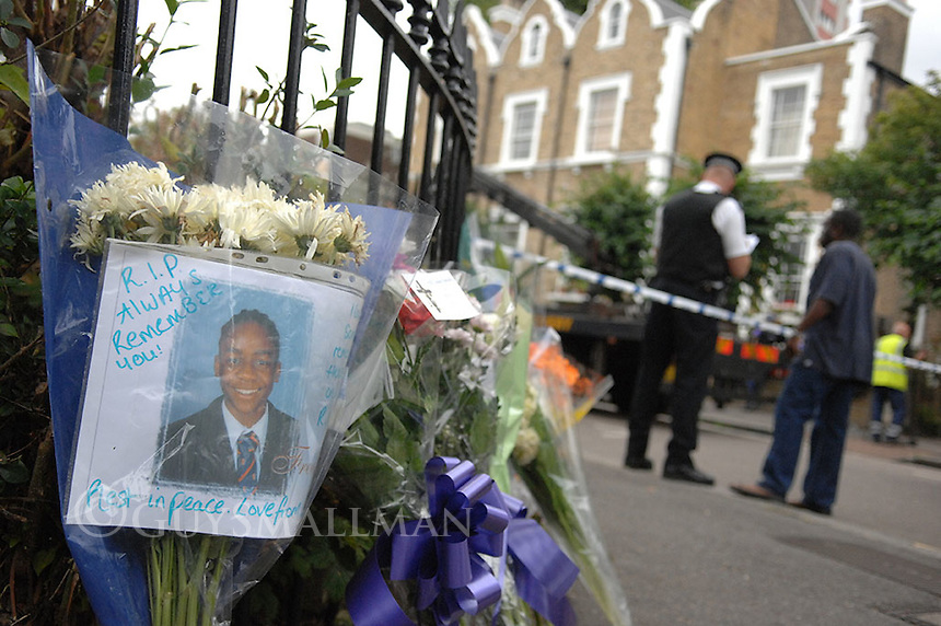 Scene of a fatal stabbing in Stockwell South London where Frederick Moody aged 18 was killed by a gang of youths.