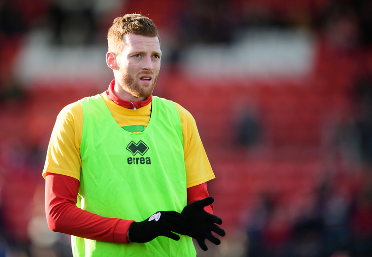 Lincoln City's Cian Bolger during the pre-match warm-up<br /> <br /> Photographer Chris Vaughan/CameraSport<br /> <br /> The EFL Sky Bet League Two - Lincoln City v Northampton Town - Saturday 9th February 2019 - Sincil Bank - Lincoln<br /> <br /> World Copyright &copy; 2019 CameraSport. All rights reserved. 43 Linden Ave. Countesthorpe. Leicester. England. LE8 5PG - Tel: +44 (0) 116 277 4147 - admin@camerasport.com - www.camerasport.com
