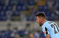 Football, Serie A: S.S. Lazio - Cagliari, Olympic stadium, Rome, July 23, 2020. <br /> Lazio's Sergej Milinkpvic-Savic celebrates after scoring during the Italian Serie A football match between Lazio and Cagliari at Rome's Olympic stadium, Rome, on July 23, 2020. <br /> UPDATE IMAGES PRESS/Isabella Bonotto