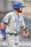 Hartford Yard Goats center fielder David Dahl (1) during a game against the Richmond Flying Squirrels at The Diamond on April 30, 2016 in Richmond, Virginia. The Yard Goats defeated the Flying Squirrels 5-1. (Tony Farlow/Four Seam Images)