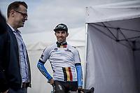 Sean De Bie (BEL/Veranda's Willems - Crelan), standing next to team manager Nick Nuyens)  is the new leader in the Napoleon Games Cycling Cup Ranking. <br /> <br /> 103th Kampioenschap van Vlaanderen 2018 (UCI 1.1)<br /> Koolskamp – Koolskamp (186km)