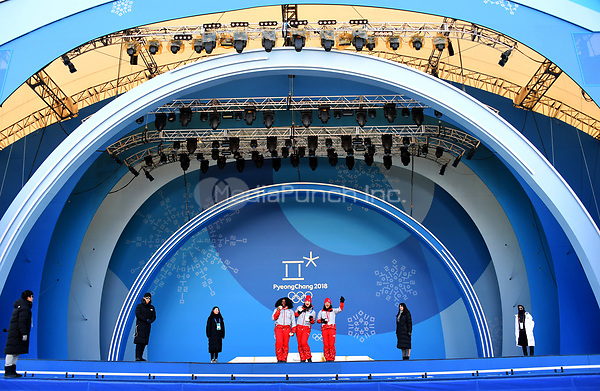 Helpers rehearsing onstage for the medal awards ceremony in Pyeongchang, South Korea, 07 January 2018. The Pyeongchang 2018 Winter Olympics take place between 09 and 25 February. Photo: Tobias Hase/dpa /MediaPunch ***FOR USA ONLY***