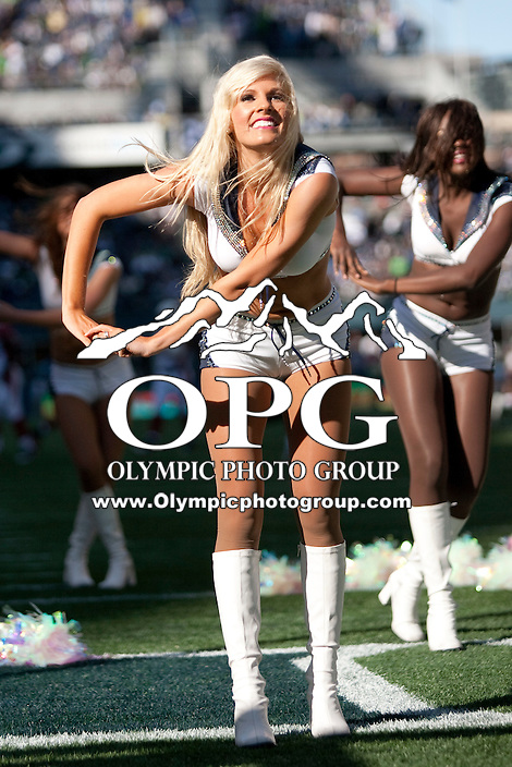 Sept 25, 2011: Seattle Seagals Cheerleaders performed during a timeout against Arizona. Seattle defeated Arizona 13-10 at Century Link in Seattle, WA.