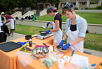 The Chickpeas<br /> Six student teams battle to win the Iron Chef competition as part of Earth Month on Thursday, April 11, 2019 in the JSC Quad. Event MC, Amos Himmelstein, provided play-by-play of the action. Their task was to create the best vegetarian or vegan starter and sauté dishes. A wide variety of fresh organic produce (some freshly picked at the FEAST garden), FEAST eggs, spices, oils AND one secret ingredient were at the team's disposal.<br /> Chef Brad Kent, owner of Olio GCM Wood Fired Pizzeria at Grand Central Market and co-Founder/chief culinary officer for Blaze Pizza, is this year's guest judge.<br /> The contest is led by FEAST and supported by Campus Dining, Facilities Management, RESF, and the Office of the President.<br /> (Photo by Marc Campos, Occidental College Photographer)