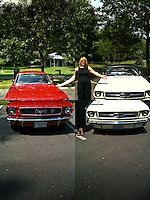 Red and white Ford Mustangs with iPhone 3G2 and QuadCamera app.