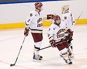 Brian Dumoulin (BC - 2), Cam Atkinson (BC - 13), John Muse (BC - 1) - The Boston College Eagles defeated the Yale University Bulldogs 9-7 in the Northeast Regional final on Sunday, March 28, 2010, at the DCU Center in Worcester, Massachusetts.