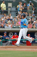 Myrtle Beach Pelicans outfielder D.J. Wilson (4) scoring a run during a game against the Potomac Nationals at Ticketreturn.com Field at Pelicans Ballpark on July 1, 2018 in Myrtle Beach, South Carolina. Myrtle Beach defeated Potomac 6-1. (Robert Gurganus/Four Seam Images)