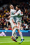 Isco Alarcon of Spain (R) celebrating his score with Iago Aspas (L) during the International Friendly 2018 match between Spain and Argentina at Wanda Metropolitano Stadium on 27 March 2018 in Madrid, Spain. Photo by Diego Souto / Power Sport Images