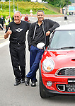 Russ Swift and  daley  Thompson at the  Olympic Torch Relay at MINI Plant Oxford on Monday 9th July 2012  Picture By: Brian Jordan / Retna Pictures.. ..-..