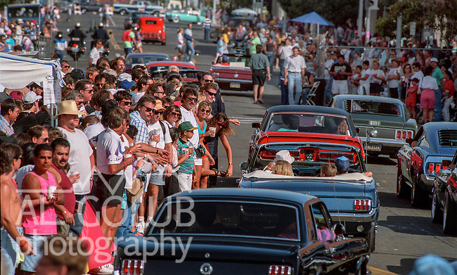 June 13, 1992, Modesto, California--Graffiti Night 1992-- This year the city of Modesto had a car show, cruise and booths downtown. Beephoto staff was covering the Graffiti Night action, my assignment was to photograph the crowd downtown.  Photo by Al Golub/Golub Photography
