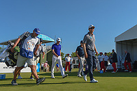 Seamus Power (IRL), Sam Ryder (USA), and Joaquin Niemann (CHL) head down 10 during round 1 of the AT&T Byron Nelson, Trinity Forest Golf Club, at Dallas, Texas, USA. 5/17/2018.<br /> Picture: Golffile | Ken Murray<br /> <br /> <br /> All photo usage must carry mandatory copyright credit (© Golffile | Ken Murray)