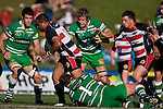 Simon Lemalu bursts through the Manawatu forwards. Air New Zealand Cup rugby game between the Counties Manukau Steelers & Manawatu Turbos, played at Growers Stadium Pukekohe on Staurday September 20th 2008..Counties Manukau won 27 - 14 after trailing 14 - 7 at halftime.