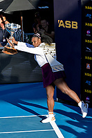 12th January 2020, Auckland, New Zealand;  Serena Williams (USA) poses with the winners trophy at the 2020 Women's ASB Classic at the ASB Tennis Centre, Auckland, New Zealand.