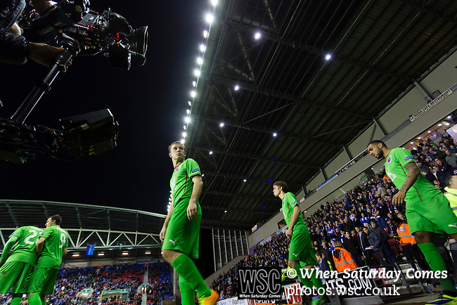 Wigan 1 Rubin Kazan 1, 24/10/2013. Europa League Group game, DW Stadium Rubin Kazan come out for the second half, watched by a tv camera. Photo by Paul Thompson