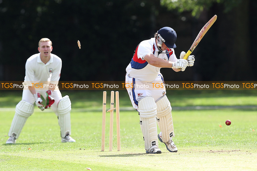 Havering claim the fourth Hornchurch Athletic wicket - Hornchurch Athletic CC (batting) vs Havering-atte-Bower CC - Mid-Essex Cricket League at Hylands Park - 16/08/14 - MANDATORY CREDIT: Gavin Ellis/TGSPHOTO - Self billing applies where appropriate - contact@tgsphoto.co.uk - NO UNPAID USE