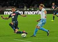 Manolo Gabbianini Lucas Biglia  durante l'incontro di ritorno della semifinale  Tim Cup tra     Napoli - Lazio allo  Stadio San Paolo  di Napoli ,08 Aprile  2015