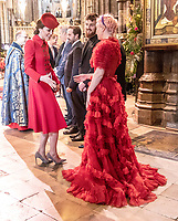 11 March 2019 - London, England - Kate Duchess of Cambridge Catherine Katherine Middleton with Grace Chatto and Jack Patterson of Clean Bandit with Alfie Boe in the background during a Commonwealth Day Service held at Westminster Abbey. Photo Credit: ALPR/AdMedia