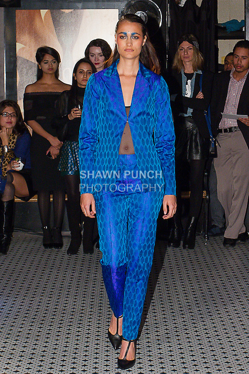 Model walks runway in an outfit from the Sheena Trivedi Spring Summer 2014 collection by Sheena Trivedi, at Hotel Chantelle on October 21, 2013.