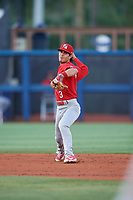 Palm Beach Cardinals shortstop Kramer Robertson (3) throws to first base during a game against the Charlotte Stone Crabs on April 21, 2018 at Charlotte Sports Park in Port Charlotte, Florida.  Charlotte defeated Palm Beach 5-2.  (Mike Janes/Four Seam Images)