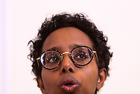 La scrittrice italo-somala Igiaba Scego durante l'incontro promosso dai Radicali Italiani dal titolo &quot;Donne anche noi - Storie di fuga e riscatto&quot; alla sede dell'Associazione della Stampa Estera in Italia, a Roma, 7 marzo 2017. <br /> Italian-Somali writer Igiaba Scego during a meeting on refugees and former victims of human trafficking living in Italy, in Rome, 7 March 2017.<br /> UPDATE IMAGES PRESS/Riccardo De Luca