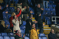 Fleetwood Town fans celebrate during the Sky Bet League 1 match between Oxford United and Fleetwood Town at the Kassam Stadium, Oxford, England on 10 April 2018. Photo by David Horn.