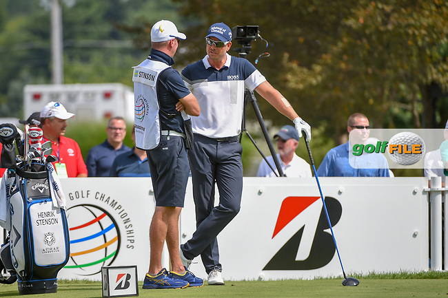Henrik Stenson (SWE) talks with his caddie on the tee on 17 during 2nd round of the World Golf Championships - Bridgestone Invitational, at the Firestone Country Club, Akron, Ohio. 8/3/2018.<br /> Picture: Golffile | Ken Murray<br /> <br /> <br /> All photo usage must carry mandatory copyright credit (© Golffile | Ken Murray)